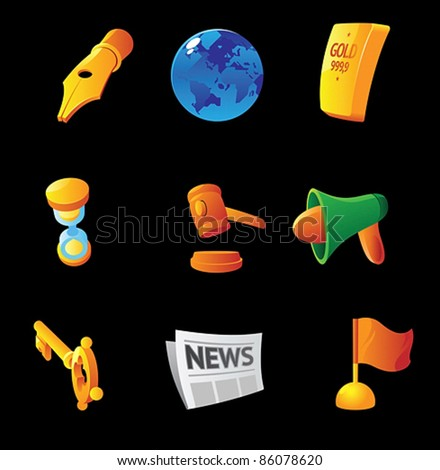 Icons for business symbols and abstracts, black background. Vector illustration.