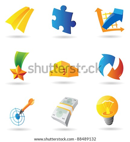 Icons for business symbols. Vector illustration.