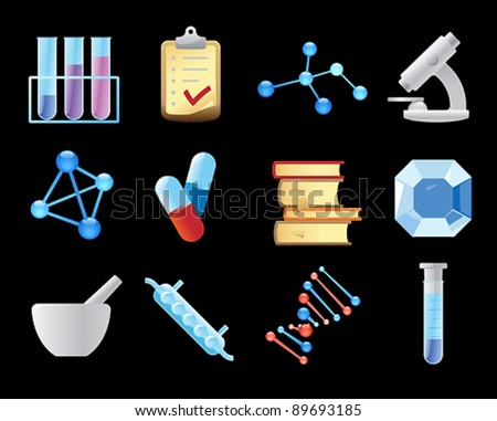 Icons for chemistry. Vector illustration.