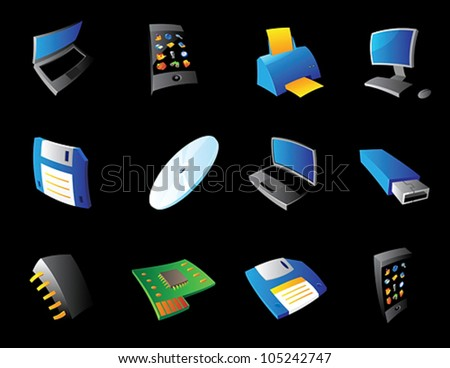 Icons for computer and devices, black background. Vector illustration. - stock vector