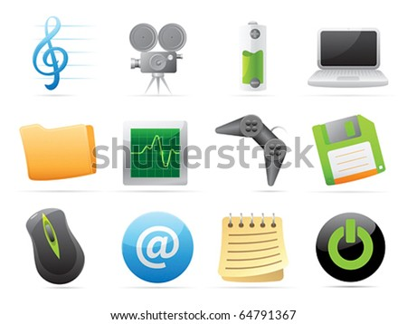 Icons for computer and website interface. Vector illustration. - stock vector