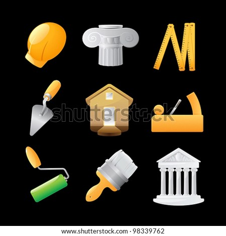 Icons for construction. Vector illustration.