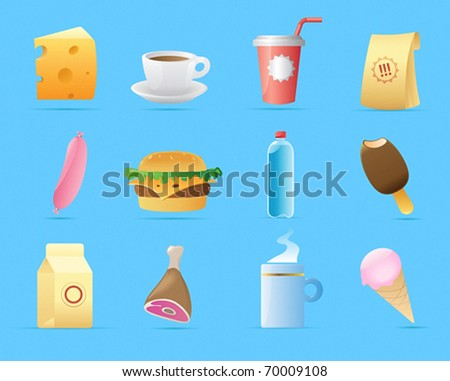 Icons for food. Vector illustration.