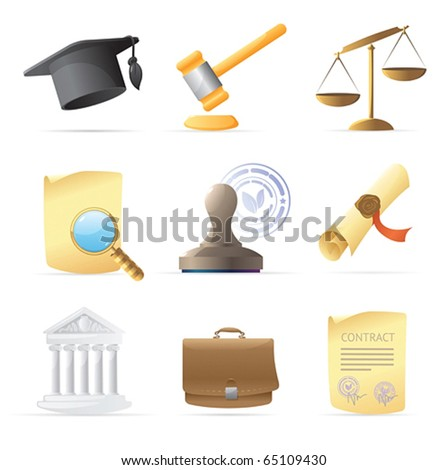 Icons for law. Vector illustration.