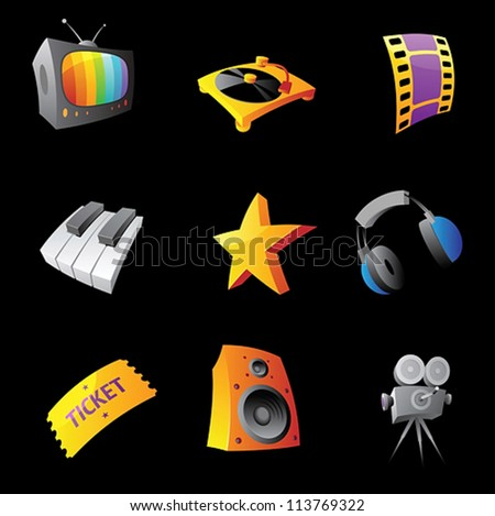 Icons for media on black background. Vector illustration.