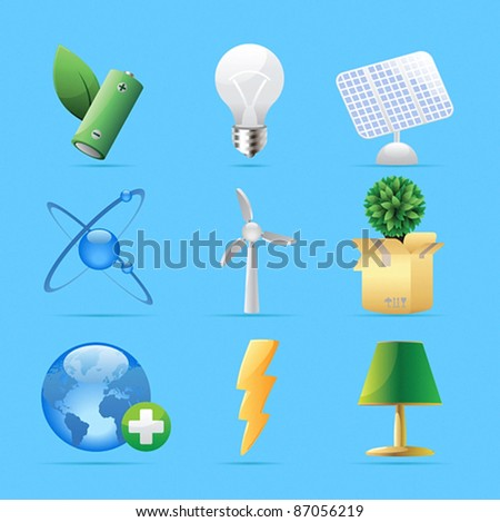 Icons for nature, energy and ecology. Vector illustration.