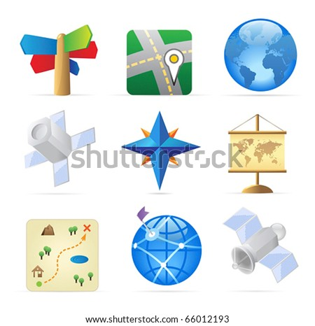 Icons for navigation. Vector illustration.