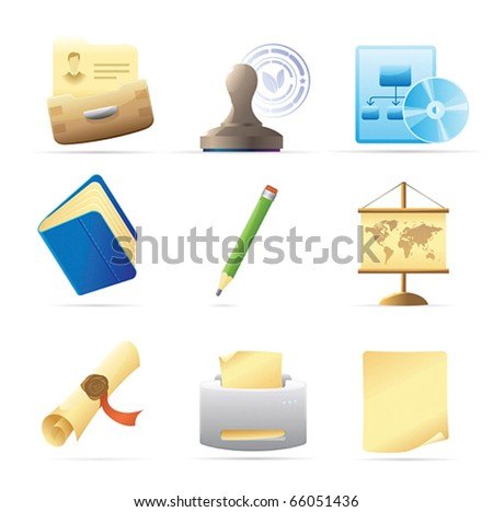 Icons for office and stationery. Vector illustration.
