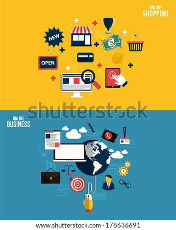 Icons for online business and online shopping. Flat style. Vector