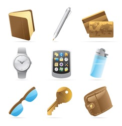 Icons for personal belongings. Vector illustration.