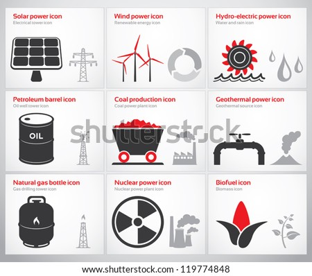 Icons for renewable and non-renewable energy sources: solar, wind, water, petroleum, coal, geothermal, gas, nuclear and biofuel.