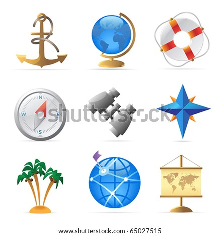 Icons for sea travel. Vector illustration.