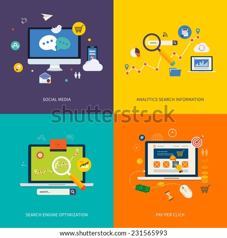 Icons for seo, social media, analytics search information and pay per click internet advertising in flat design. Set of flat design concept icons for web and mobile services and apps.