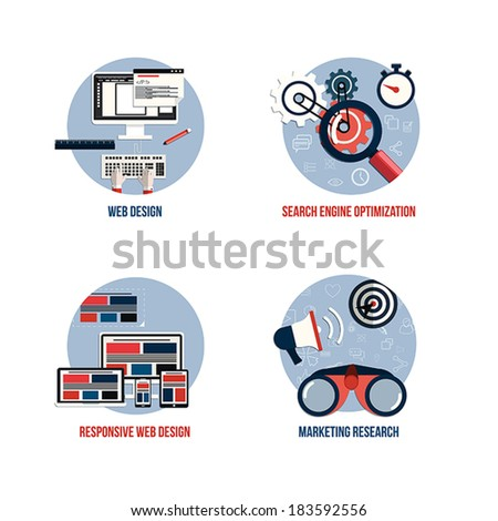 Icons for seo, web design, responsive web design and marketing research. Flat style. Vector