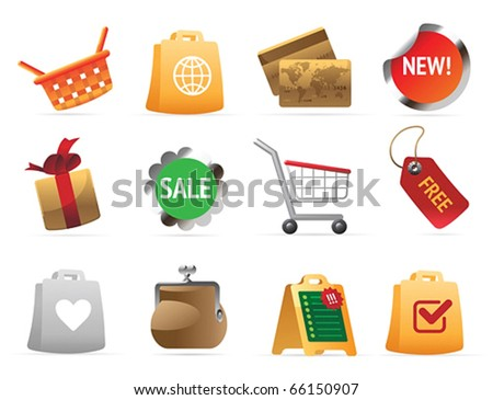 Icons for shopping. Vector illustration.