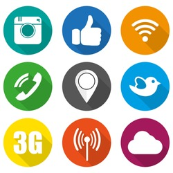 Icons for social networking vector illustration in flat