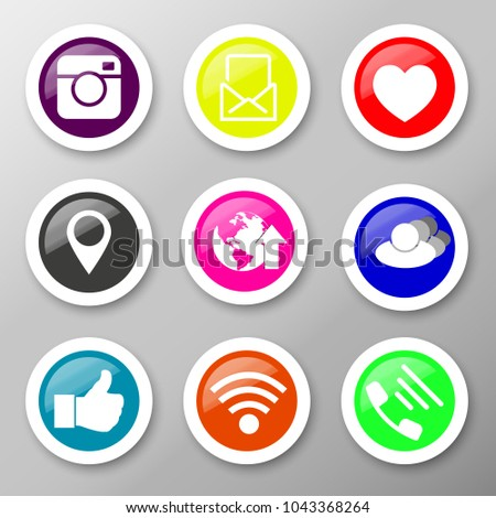 Icons for social networking vector illustration in flat #1043368264