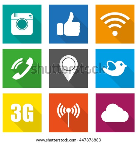 Icons for social networking vector illustration in flat design #447876883