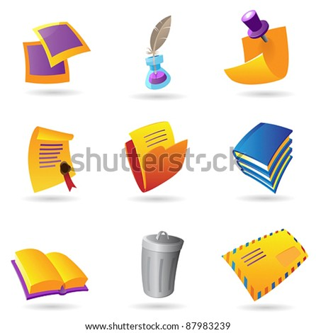 Icons for stationery. Vector illustration.