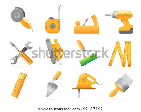 Icons for tools. Vector illustration.