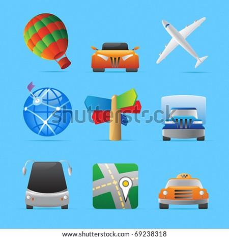 Icons for transportation. Vector illustration.