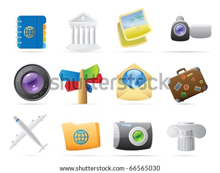 Icons for travel. Vector illustration.
