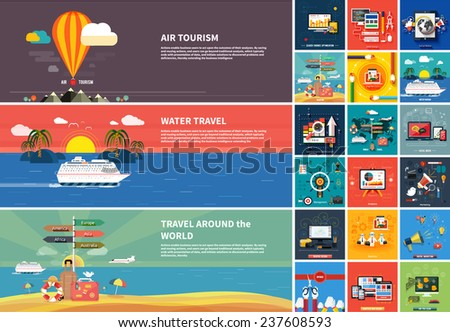 Icons for web design, seo, social media and pay per click internet advertising and icons set of traveling, planning a summer vacation in flat design