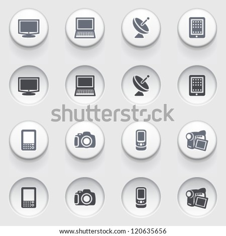 Icons for web on white buttons. Set 27.