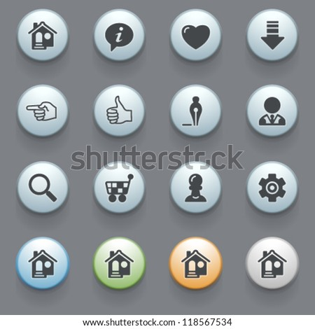 Icons for web with color buttons on gray background.