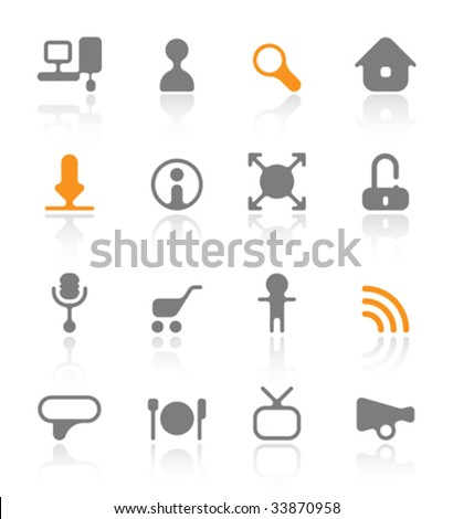 Icons for website and multimedia. Vector illustration.