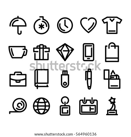 Shutterstock Icons for your website, business Souvenirs, gifts, modern graphic style, vector icons for a business, a versatile set for site promotional products