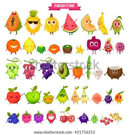 Icons  fresh fruit. Pineapple, pear, lemon, papaya, melon, mango, orange, kiwi, lime, grape, persimmon, coconut, apricots, blueberries, strawberries, raspberries, cherries, gooseberries.