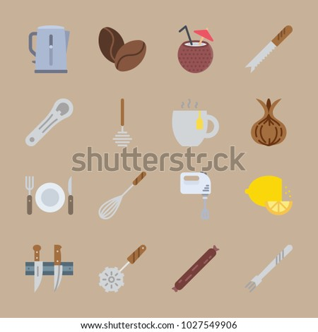 icons Gastronomy with pizza cutter, salami, coconut, lemon and cutter