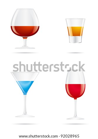 Icons glass Wine glasses, brandy, whiskey and martinis on a white background