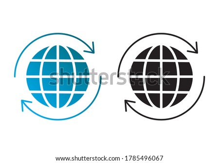 icons  globe with arrow  two