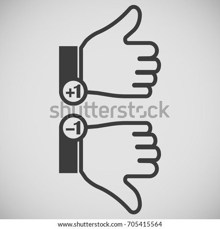 icons gray thumb up and finger down with mark-ups plus one and minus one