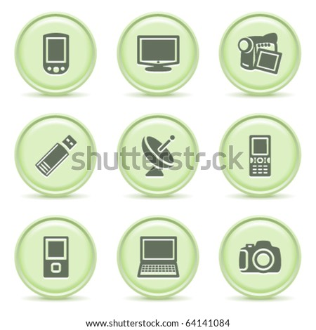 Icons green series 16 - stock vector