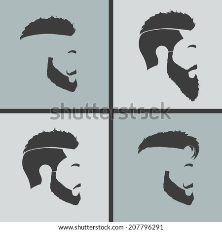Icons Hairstyles Beard And Mustache Hipster Profile Stock ...