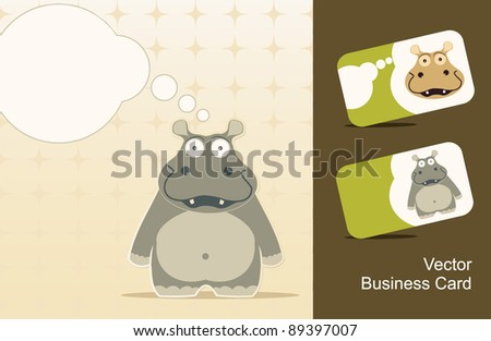 Icons hippo and a business card