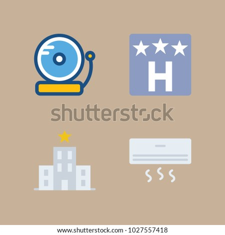 icons Hotel Services with alarm bell, bell, air conditioner, hotel and hotel sign
