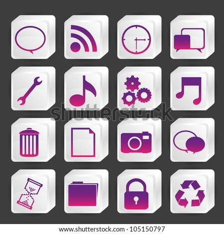 icons in boxes of white, vector illustration