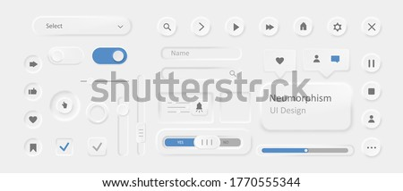 Icons in style of neomorphism. Modern ui design with stylish blur and shadow intensity unique futuristic white design trendy minimalistic buttons creative vector.