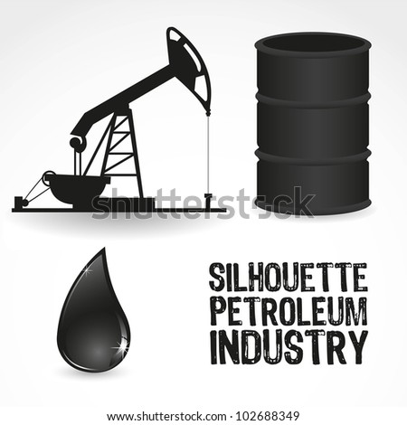icons in the oil industry, contains gallon, pump and drop of oil, vector illustration