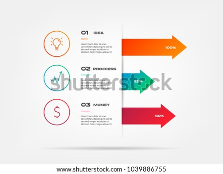 Icons infographics with arrows. Element of chart, graph, diagram with 2 options - parts, processes, timeline. Vector business template for presentation, workflow layout, annual report - Shutterstock ID 1039886755