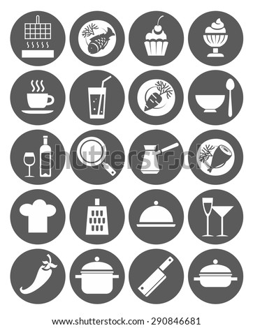Icons kitchen, restaurant, cafe, food, drinks, utensils, monochrome, flat. Monochrome, flat icons with images of kitchen utensils, restaurant meals and drinks. For websites and printing.