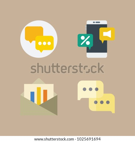 icons Letter And Paper with chat, internet chat, audio chat, letter and work chat