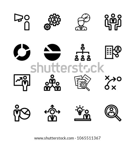 icons Management with presentation, settings, idea, time and promoting #1065511367