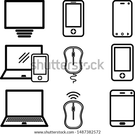 Icons media Communications. A big set of internet icons with different Business objects. Computer, telephone, communication, and communication and presentation of business ideas