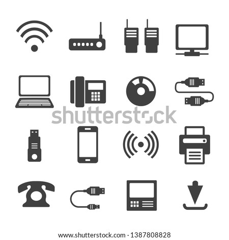 Icons media Communications. A set of internet icons with different Business objects. Computer, telephone, communication, and communication and presentation of business ideas.