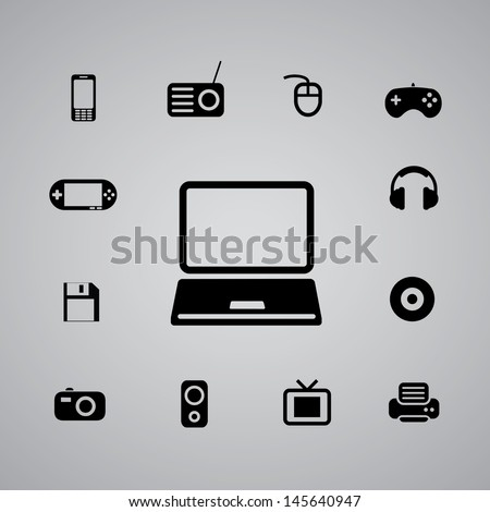 icons music set for use